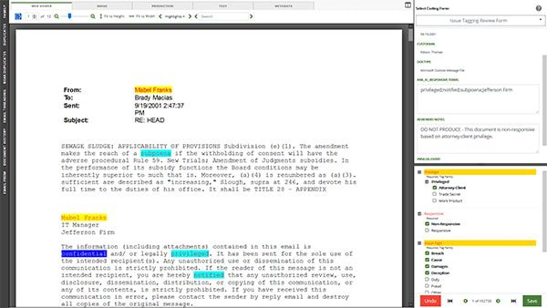doeDISCOVERY-document-review-screenshot